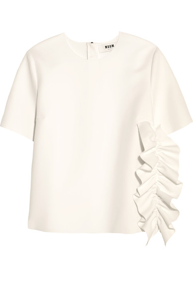 Msgm Ruffled Stretch-crepe Top In White