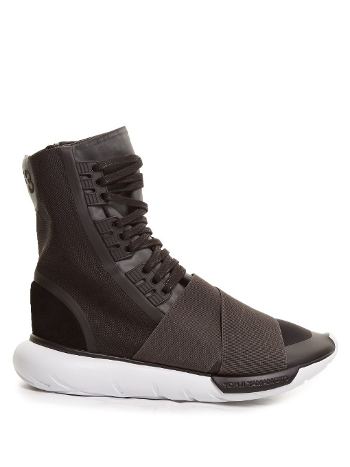 3cc32d365604b Y-3 Qasa Boot Neoprene And Canvas High-Top Trainers In Black Fabric ...
