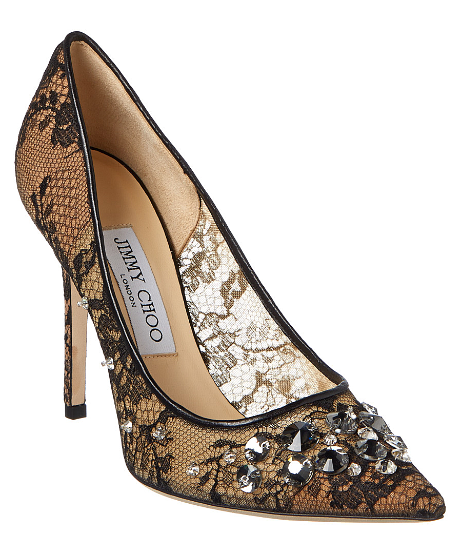 Jimmy Choo Lyzo 100 Lace & Mesh Pointy-toe Pump In Black