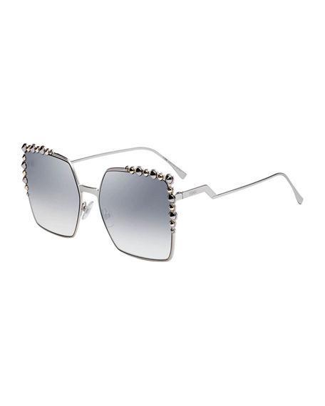 5ef6437298d3c Fendi Women s Embellished Mirrored Square Sunglasses