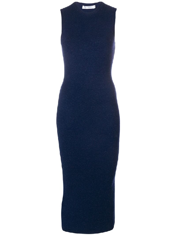 Victoria Beckham Fitted Knit Midi Dress In Blue