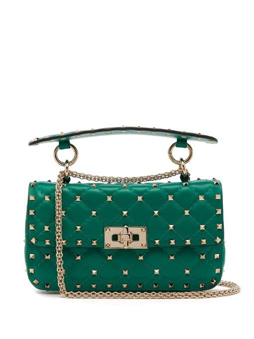 e1214d0f96b Valentino - Rockstud Spike Small Quilted Leather Shoulder Bag - Womens -  Green