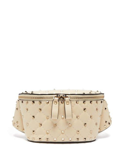 6a1a82a32a Valentino - Rockstud Spike Quilted Leather Belt Bag - Womens - Ivory ...