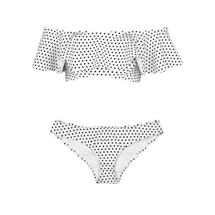 559f13c4769 Mira Polka-Dot Bikini in White And Black