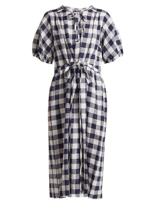 8df4f1c13a8 Lee Mathews Nellie Gingham Linen Dress In Navy Multi