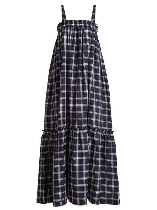 990845e9c23 Lee Mathews Nellie Checked Cotton Apron Dress In Navy Multi