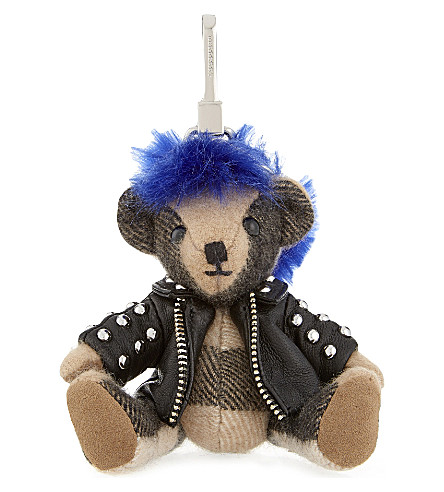 Burberry Punk Thomas Bear Check Cashmere Keyring In Camel