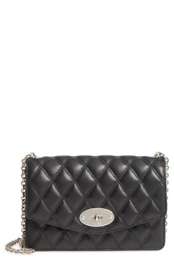 ba4d5db6b91 Mulberry Small Darley Lock Quilted Calfskin Leather Clutch - Black In  Black/ Silver