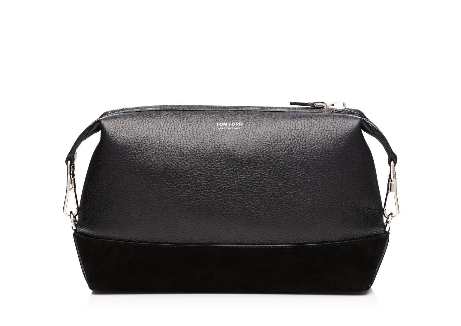 83fa532393e Tom Ford Suede-Panelled Full-Grain Leather Wash Bag In Black | ModeSens