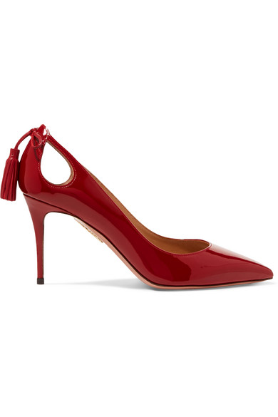 Aquazzura Forever Marilyn 85 Cutout Tasseled Patent-leather Pumps In Claret