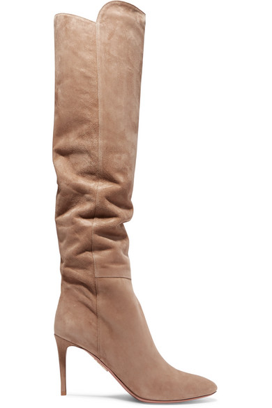 95b612af573 Aquazzura 85Mm Suede Over The Knee Boots In Beige