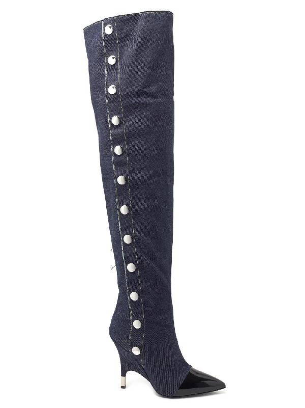 12050e19deb63 Giuseppe Zanotti - Patent Leather And Denim Cuissard Boot Harper In Nero