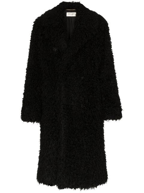 Saint Laurent Oversized Double-Breasted Faux Shearling Coat In Black