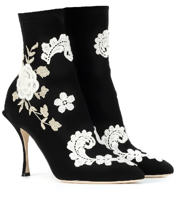 Dolce & Gabbana Ankle Boot In Stretch Jersey With MacramÉ Embroidery In 89690 Nero/bianco