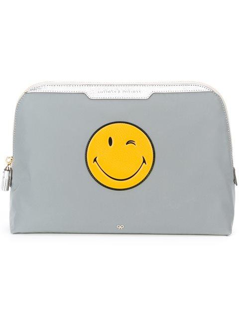 Anya Hindmarch Smiley Lotion And Potions Make-up Bag - Grey