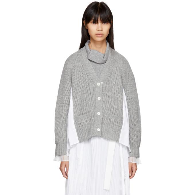 Sacai Grey Classic Shirting Cardigan