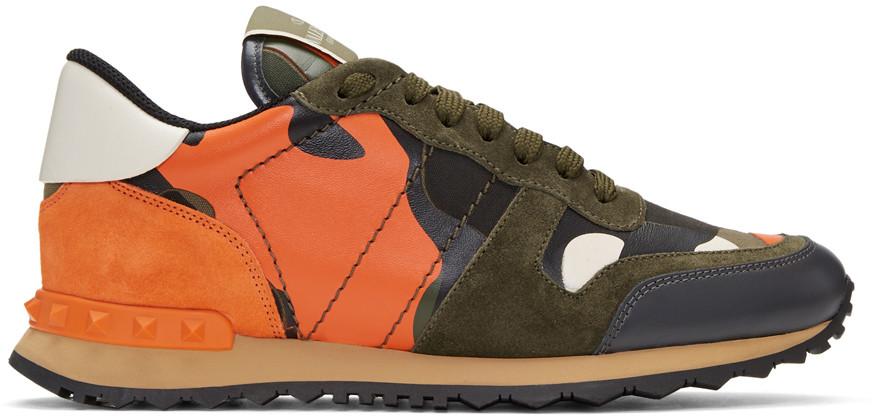 9a8e444373619 Valentino Green & Orange Garavani Camo Rockrunner Sneakers In 21T Army Green /Oran