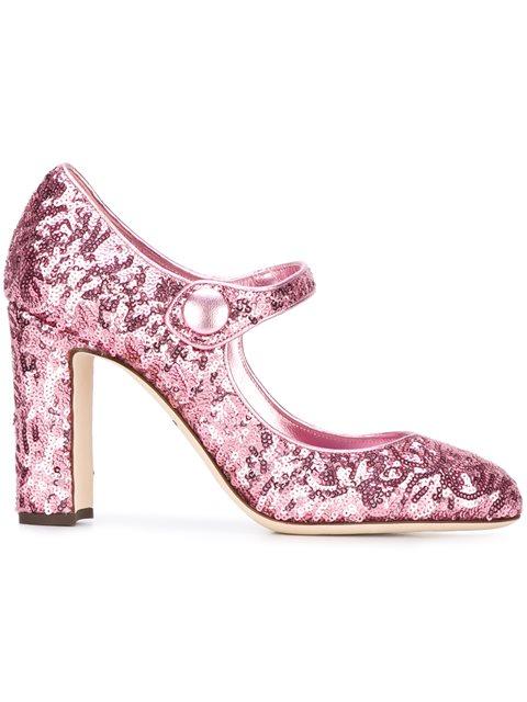 Dolce & Gabbana Sequin Mary Jane Block-heel Pumps In Piek Piek