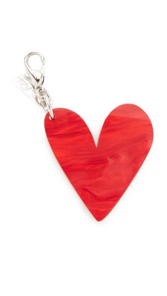 Edie Parker Heart Keychain In Gold/red