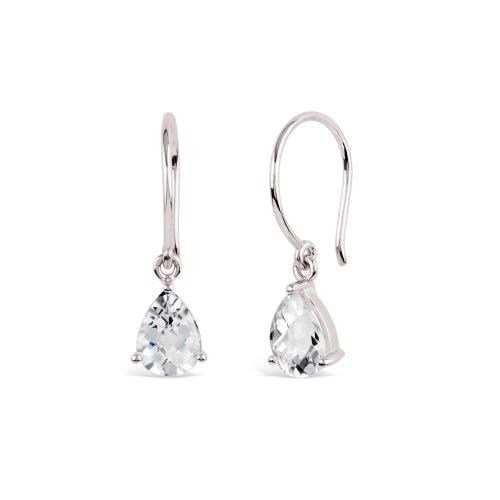 Dinny Hall Silver Gem Drop White Topaz Drop Earrings