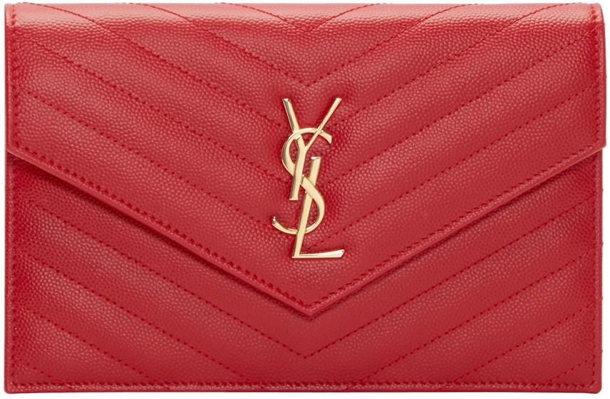 Saint Laurent Envelope Chain Wallet In Grain De Poudre Embossed Leather In Shine Red