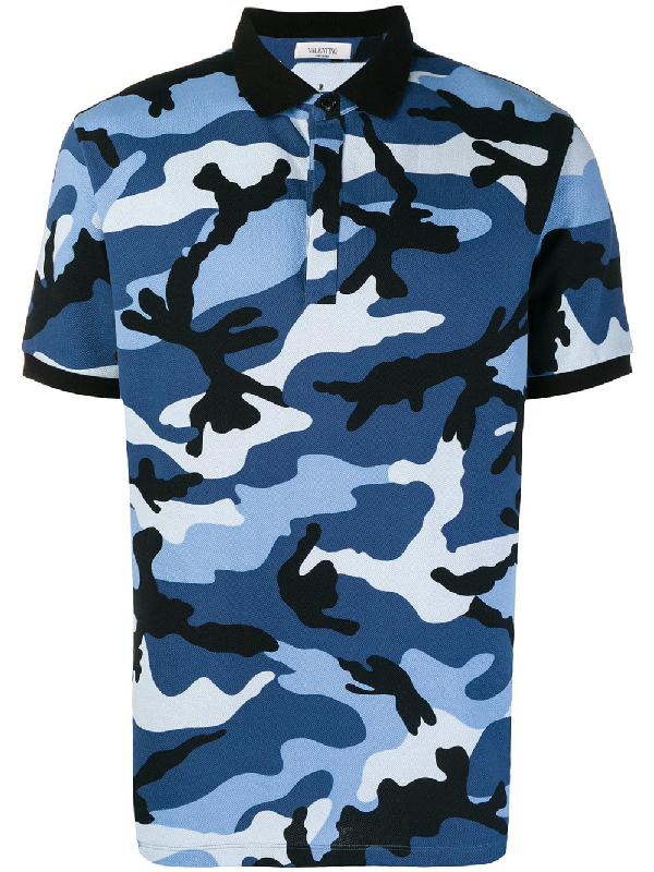 9757fa1ee Valentino Camouflage-Print Cotton Polo Shirt In F64 Blue Camouflage ...