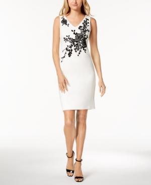 Calvin Klein Petite Embellished Sheath Dress In Cream/Black