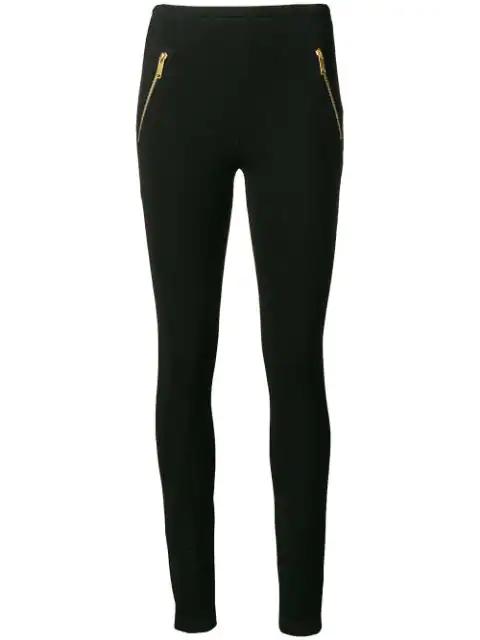 Emilio Pucci Zip-detailed Stretch-ponte Leggings In Black