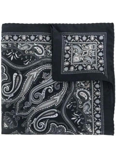 Etro Paisley Print Scarf In Black