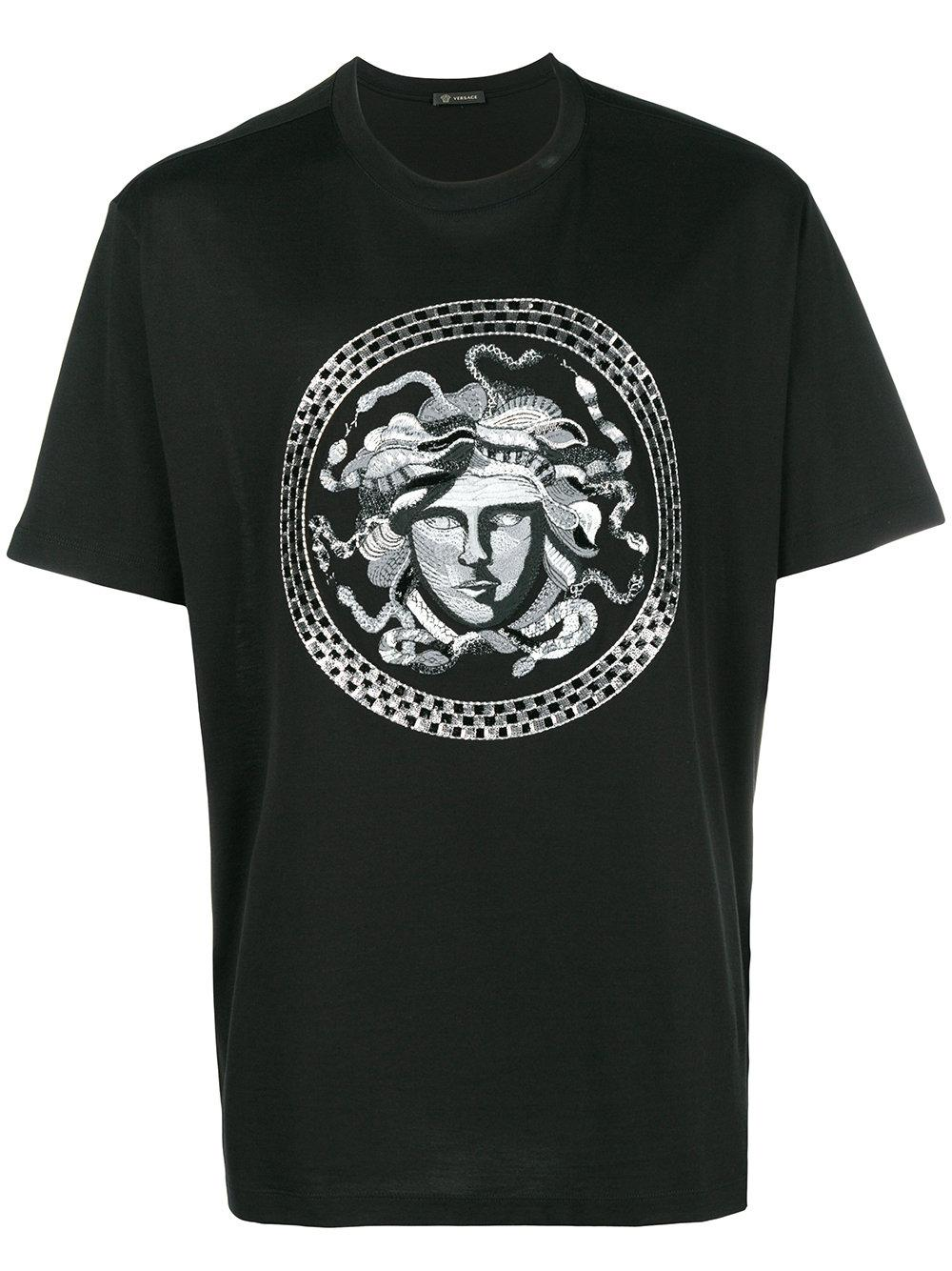 0f5ac793a7654 Versace Greek Key Medusa T-Shirt In Black