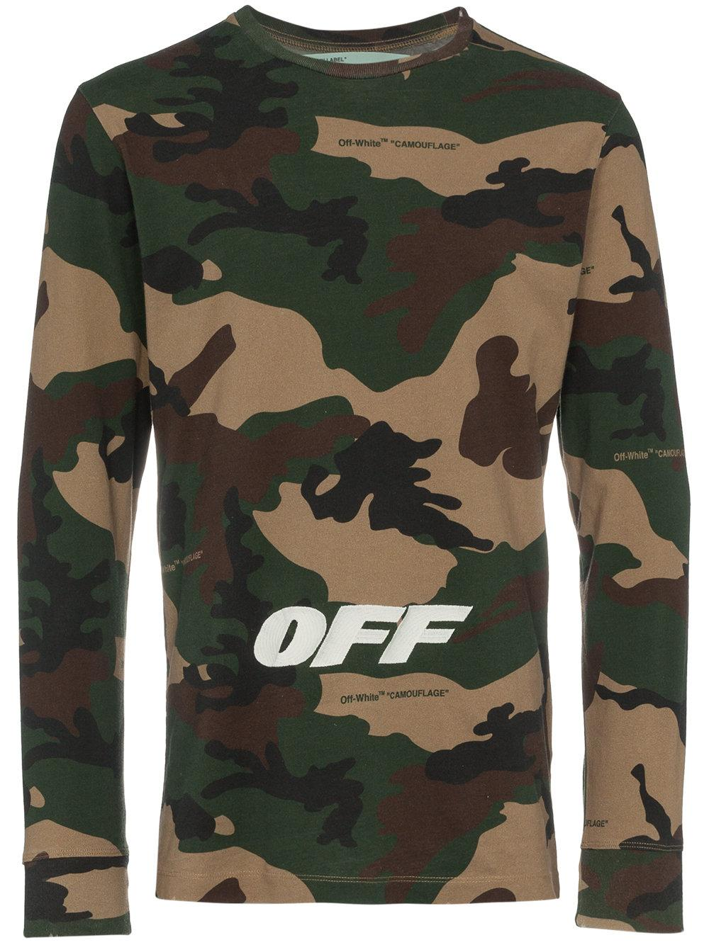 abc04bf5fc7b OFF-WHITE. Slim-Fit Logo-Embroidered Camouflage-Print Cotton-Jersey T-Shirt  ...