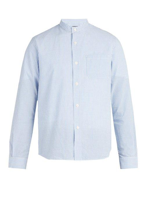 A.P.C. Robinson Striped Cotton Shirt In Blue Multi