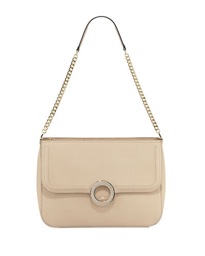 Karl Lagerfeld Clarise Saffiano Leather Shoulder Bag In Beige