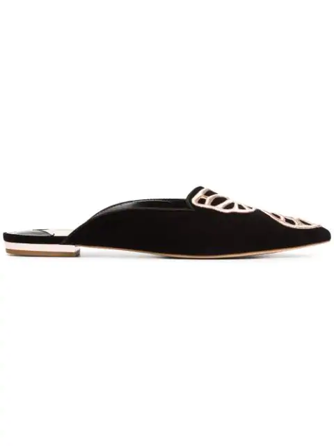 Sophia Webster Black Bibi Butterfly Embroidered Suede Slippers
