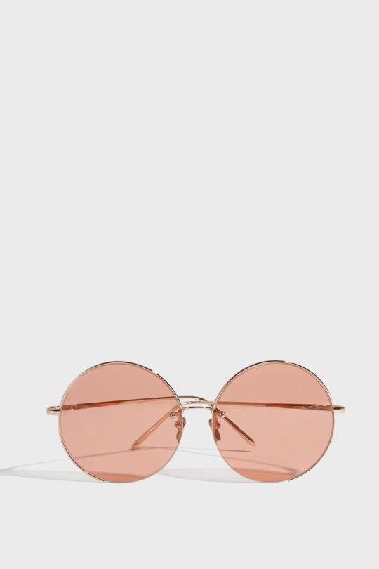 Linda Farrow Luxe Round-frame Silver-tone Sunglasses
