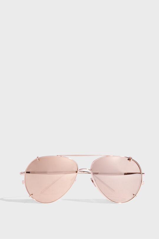 Linda Farrow Luxe Aviator-style Rose Gold-tone Sunglasses
