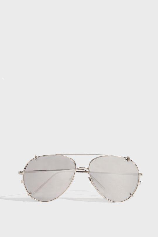 Linda Farrow Luxe Aviator-style Silver-tone Sunglasses In W Gold