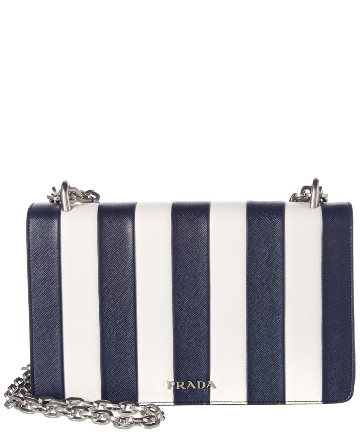 b455a0c8de28 Prada Striped Baltico Leather Chain Strap Shoulder Handbag  In Blue ...