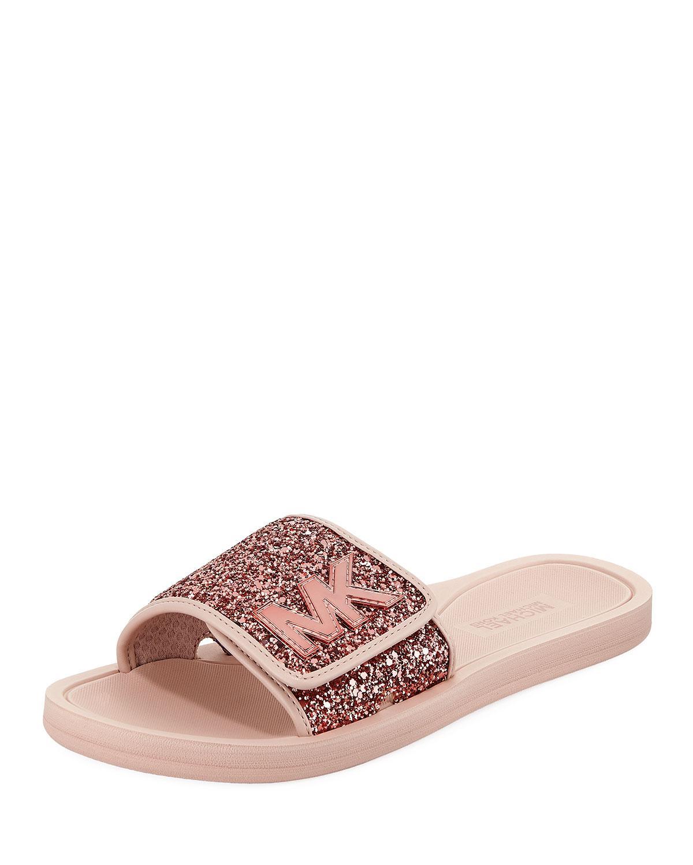 dd15850f9dea Michael Michael Kors Mk Glitter Slide Sandal In Rose Gold