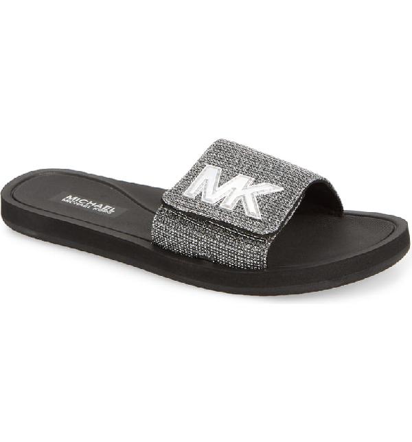 cbdf75bf0632 Michael Michael Kors Mk Glitter Chain Slide Sandals In Black  Silver ...