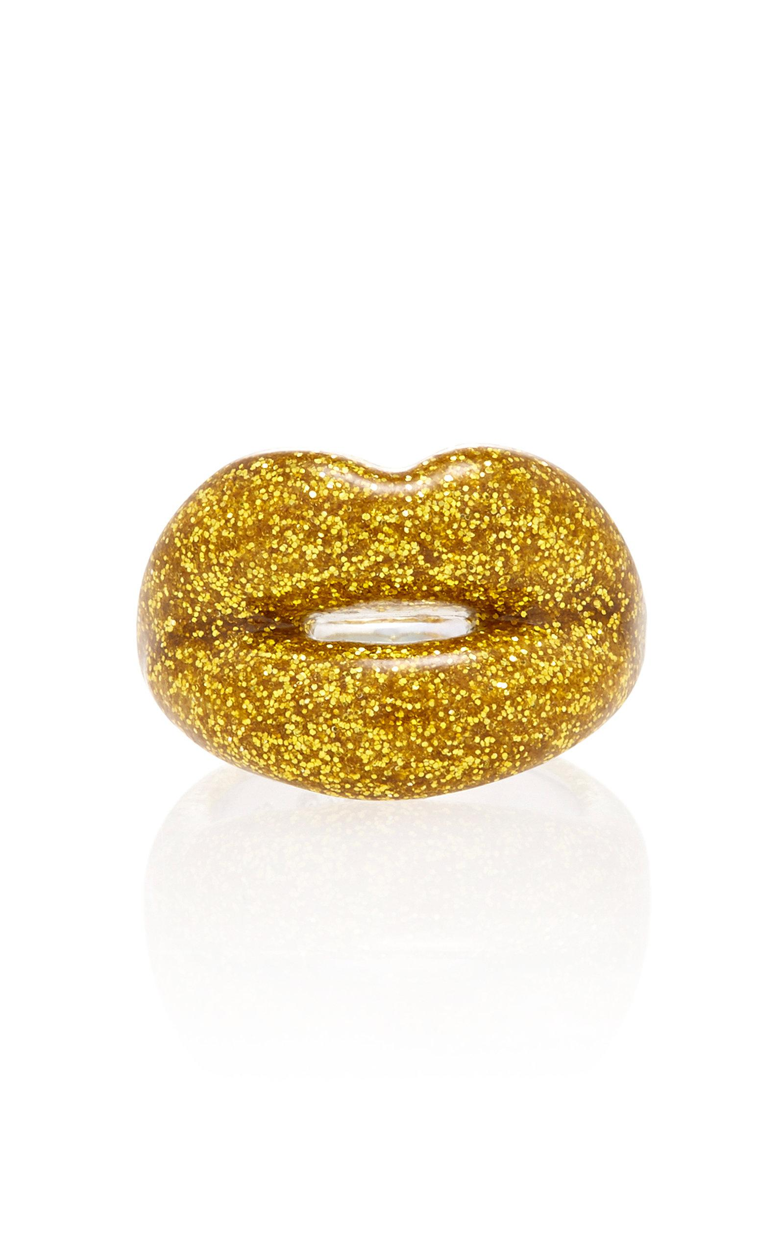 Hot Lips By Solange Glitter Gold Hotlips Ring