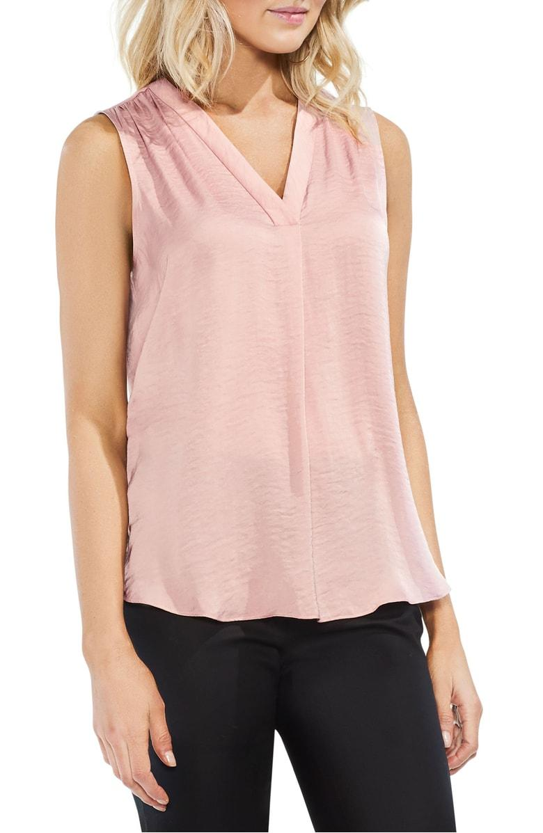 3d794a7b2 Vince Camuto Rumpled Satin Blouse In Pink Fawn | ModeSens