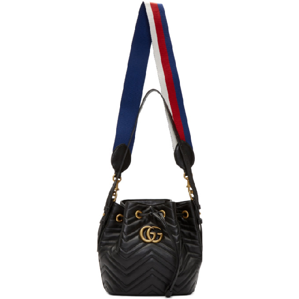 Gucci Gg Marmont 2.0 Matelasse Leather Bucket Bag - None In Black