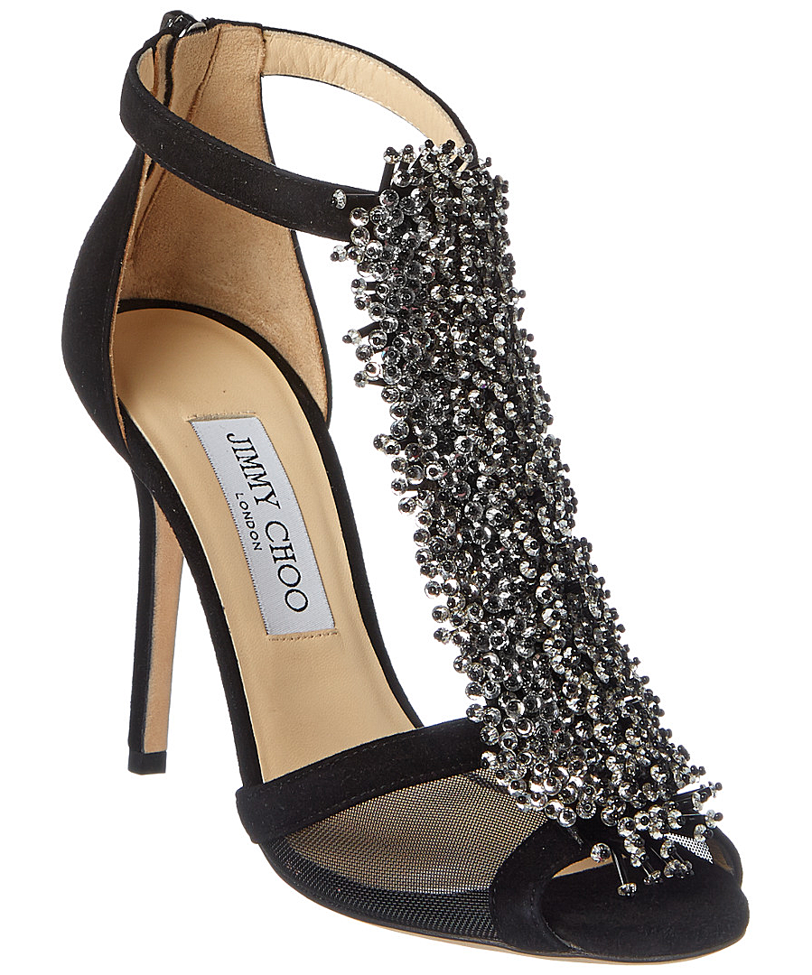 Jimmy Choo Feline Suede Beaded Sandal In Black