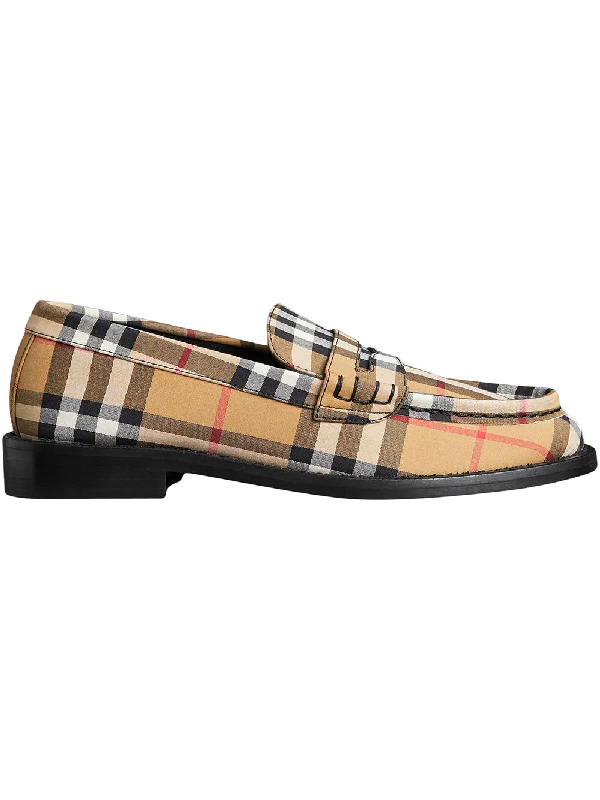 4ed6338218a Burberry Vintage Check Cotton Penny Loafers In Yellow