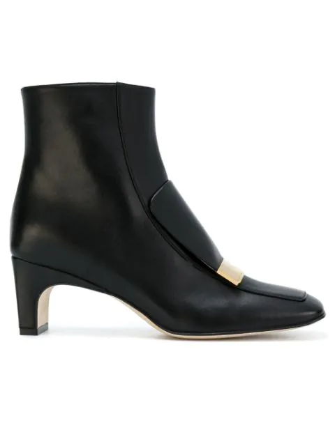Sergio Rossi 60Mm Metal Plaque Leather Ankle Boots In 1000 Black