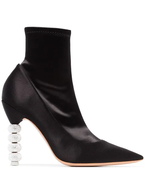 Sophia Webster 100Mm Jumbo Coco Satin Ankle Boots In Black