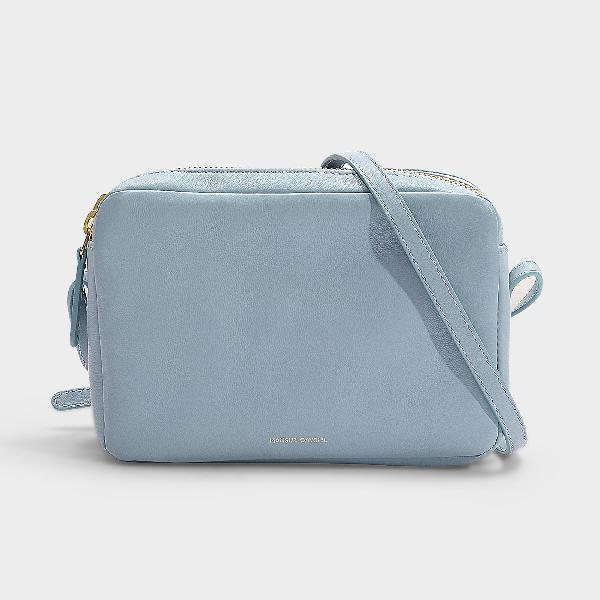 cd2a396af Mansur Gavriel Double Zip Lambskin Leather Crossbody Bag - Blue In Grey Blue