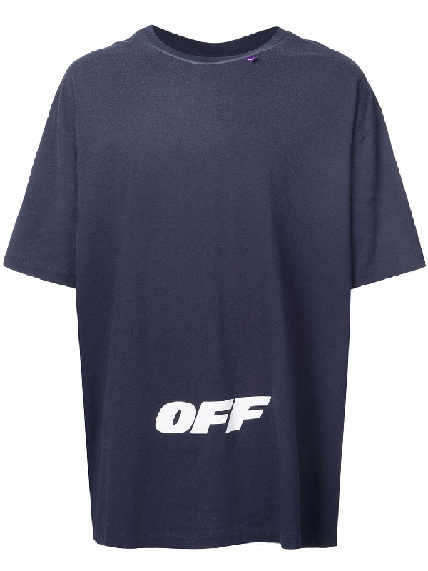 Off-White Wing Off Short-Sleeve Cotton Slim Tee In Blue