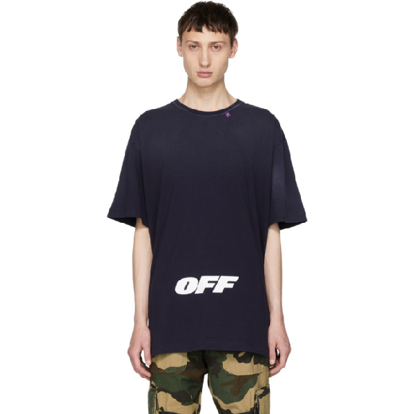 Off-white Wing Off Short-sleeve Cotton Slim Tee In 3001 Blu/wt